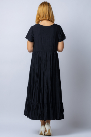 Rochie lunga neagra cu 4 volane din tesatura fina de bumbac2