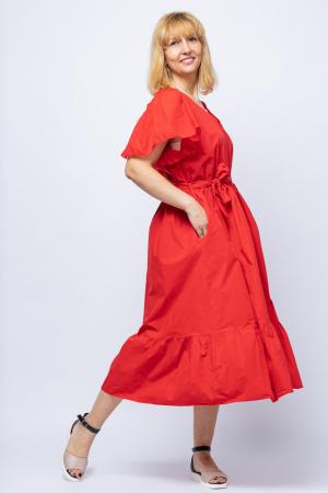 Rochie lunga uni Stella Milani, rosie, cu doua volane si volanas la maneca, din tesatura fina din bumbac [2]