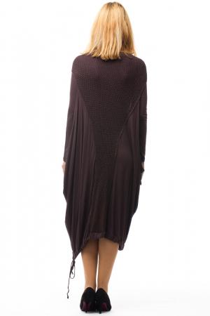 Rochie maro casual cu insertii de dantela tricotata pe fata si pe spate [2]