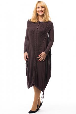 Rochie maro casual cu insertii de dantela tricotata pe fata si pe spate [0]