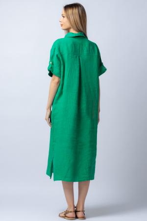 Rochie midi verde, tip camasa, cu buzunare aplicate, din in [2]
