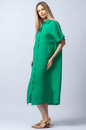 Rochie midi verde, tip camasa, cu buzunare aplicate, din in [1]