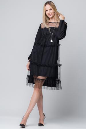 Rochie neagra cu aplicatie din tul0