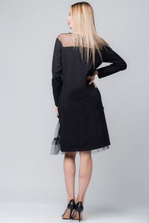 Rochie neagra cu aplicatie din tul1