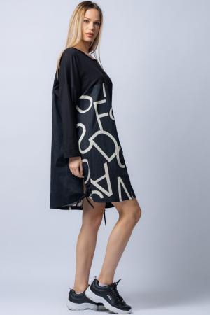 Rochie neagra cu imprimeu litere albe si buzunar [1]