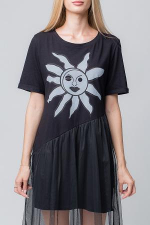 Rochie neagra cu tul negru si imprimeu floarea soarelui2