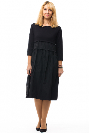 Rochie neagra din tafta si tricot2