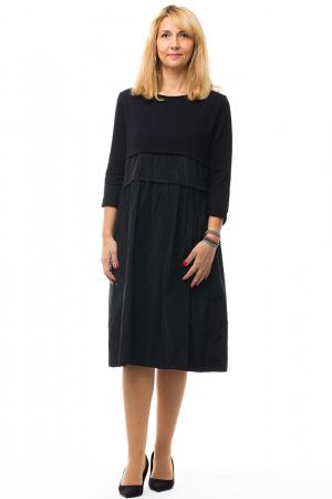 Rochie neagra din tafta si tricot4