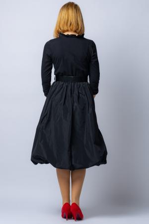 Rochie neagra gogosar  cu curea din tafta [3]