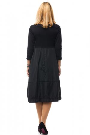 Rochie neagra gogosar din tricot si tafta cu buzunare [4]