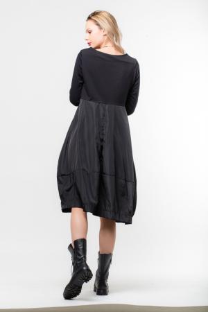 Rochie neagra gogosar din tricot si tafta cu buzunare [1]