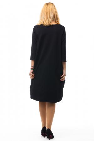 Rochie neagra gogosar din tricot si tafta cu buzunare [2]