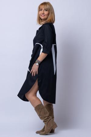 Rochie neagra lunga tip camasa cu imprimeu LOVE [1]