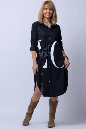 Rochie neagra lunga tip camasa cu imprimeu LOVE [0]