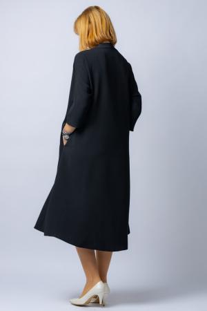 Rochie neagra oversize din tripluvoal cu decolteu in V2