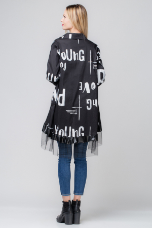 Rochie neagra pentru colanti cu tul si imprimeu [1]