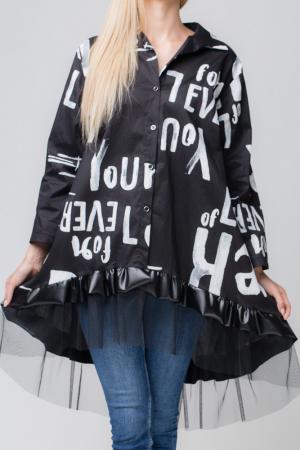 Rochie neagra pentru colanti cu tul si imprimeu [2]
