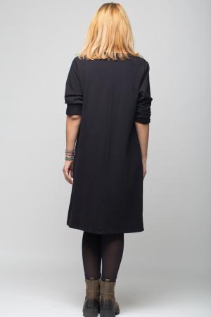 Rochie neagra VIP din tricot cu accesorii aplicate [2]