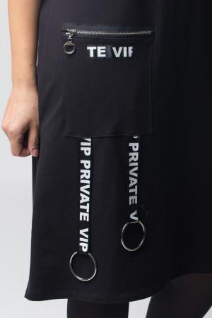 Rochie neagra VIP din tricot cu accesorii aplicate [3]