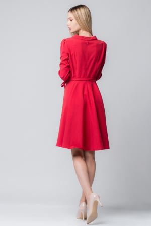 Rochie rosie, eleganta - casual, taiata in talie, clos [1]