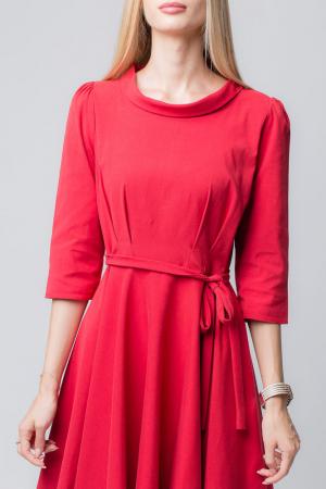Rochie rosie, eleganta - casual, taiata in talie, clos [2]