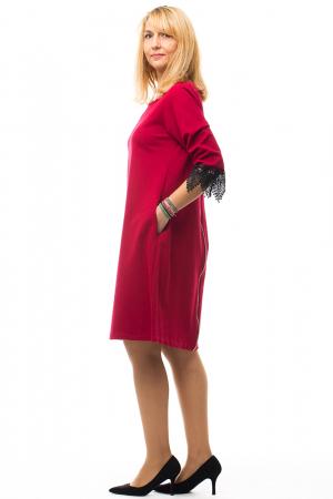 Rochie rosie office din tricot plin4