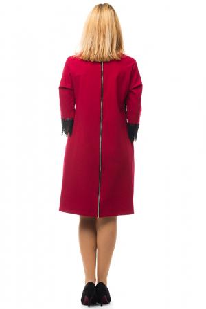 Rochie rosie office din tricot plin2