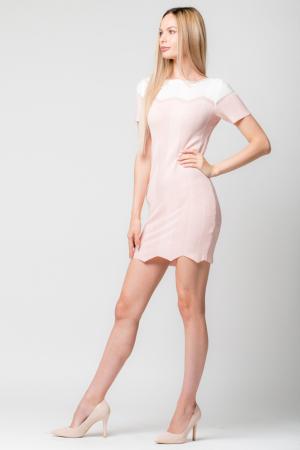 Rochie roz  tricotata pe corp cu maneci scurte0