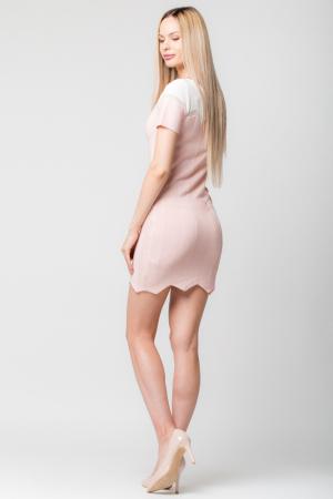 Rochie roz  tricotata pe corp cu maneci scurte2