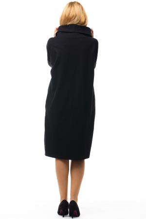 Rochie stofa ecosez si tricot negru cu guler inalt [2]