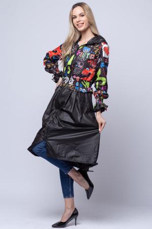 Rochie tip jacheta midi fantezista din tafta, cu gluga si imprimeu colorat2