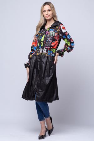 Rochie tip jacheta midi fantezista din tafta, cu gluga si imprimeu colorat1
