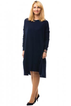 Rochie tricotata bleumarin oversize din doua materiale0