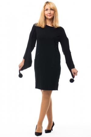 Rochie tricotata neagra midi cu esarfa0