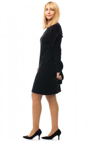 Rochie tricotata neagra midi cu esarfa1