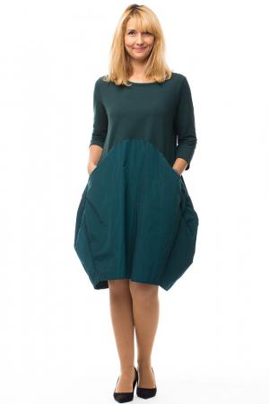 Rochie verde gogosar din tricot si tafta cu buzunare0