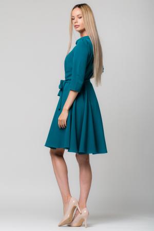 Rochie verde - turcoaz, eleganta - casual, taiata in talie, clos [1]