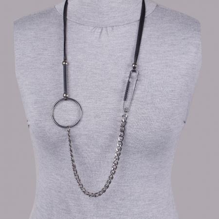 Set cercei si colier argintiu inchis, lung, cu pandantiv metalic lant, ac de siguranta si cerc1