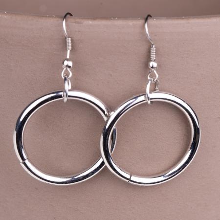 Set cercei si colier argintiu, lung cu pandantiv metalic lant, ac de siguranta si cerc2