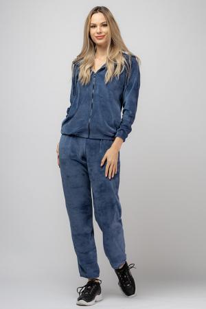 Trening dama doua piese din catifea de bumbac,cu banda elastica, albastru jeans [0]
