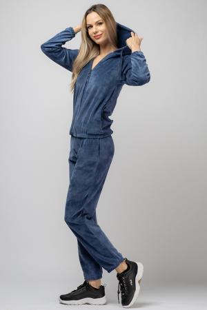 Trening dama doua piese din catifea de bumbac,cu banda elastica, albastru jeans [1]