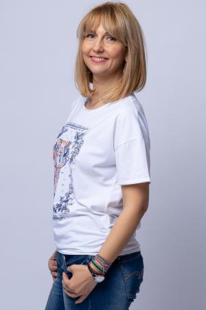 Tricou alb cu imprimeu elefant, din bumbac [1]
