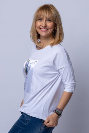 Tricou alb oversize cu maneca 3/4, cu panou de satin alb cu imprimeu frunza [1]