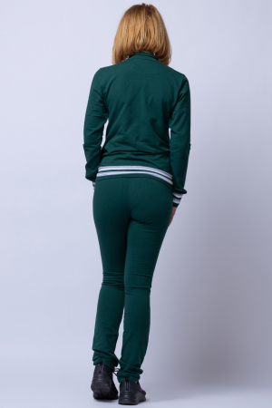 Trening dama din bumbac, model slim, doua piese, verde cu patent alb [2]