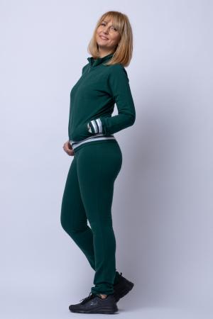 Trening dama din bumbac, model slim, doua piese, verde cu patent alb [1]