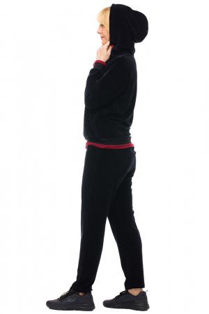 Trening dama doua piese din catifea de bumbac, negru, cu banda bordo [2]