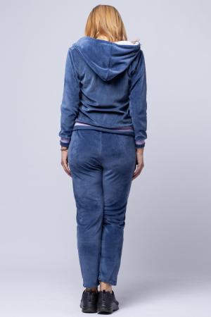 Trening dama doua piese din catifea de bumbac, albastru jeans cu banda lila2