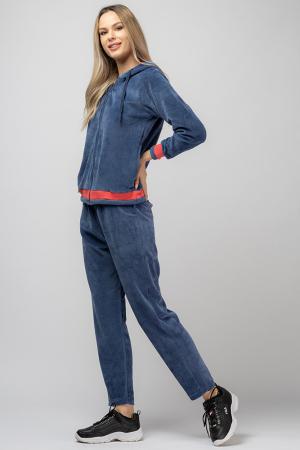 Trening dama doua piese din catifea de bumbac, albastru jeans, cu banda corai1