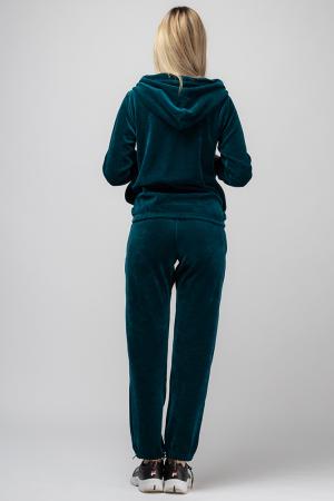 Trening dama doua piese din catifea de bumbac,cu banda elastica, turquoise2