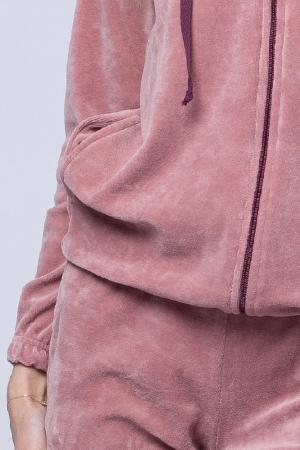 Trening dama doua piese din catifea de bumbac, roz prafuit4